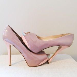 Enzo Angiolini Color Block Peep Toe High Stiletto